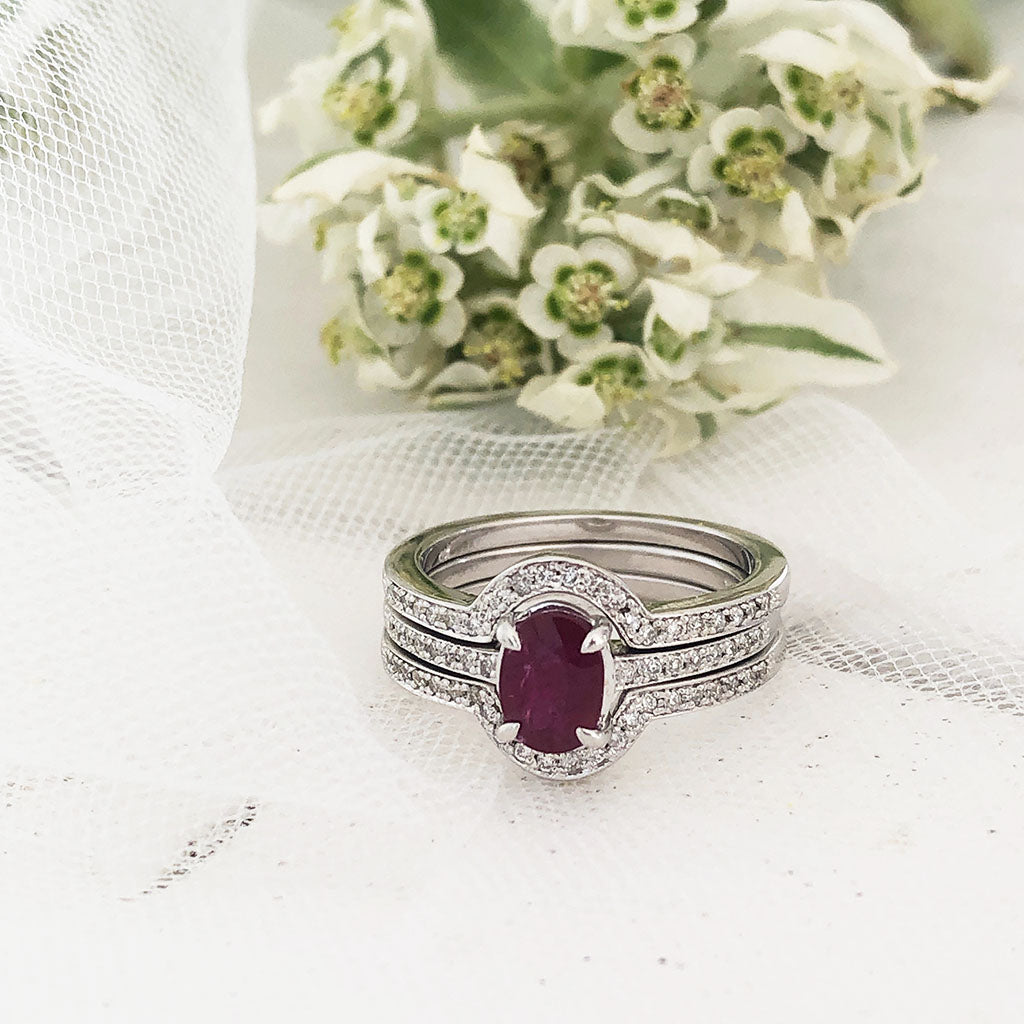 Triple Band Oval Ruby and Diamond Wedding Band Set