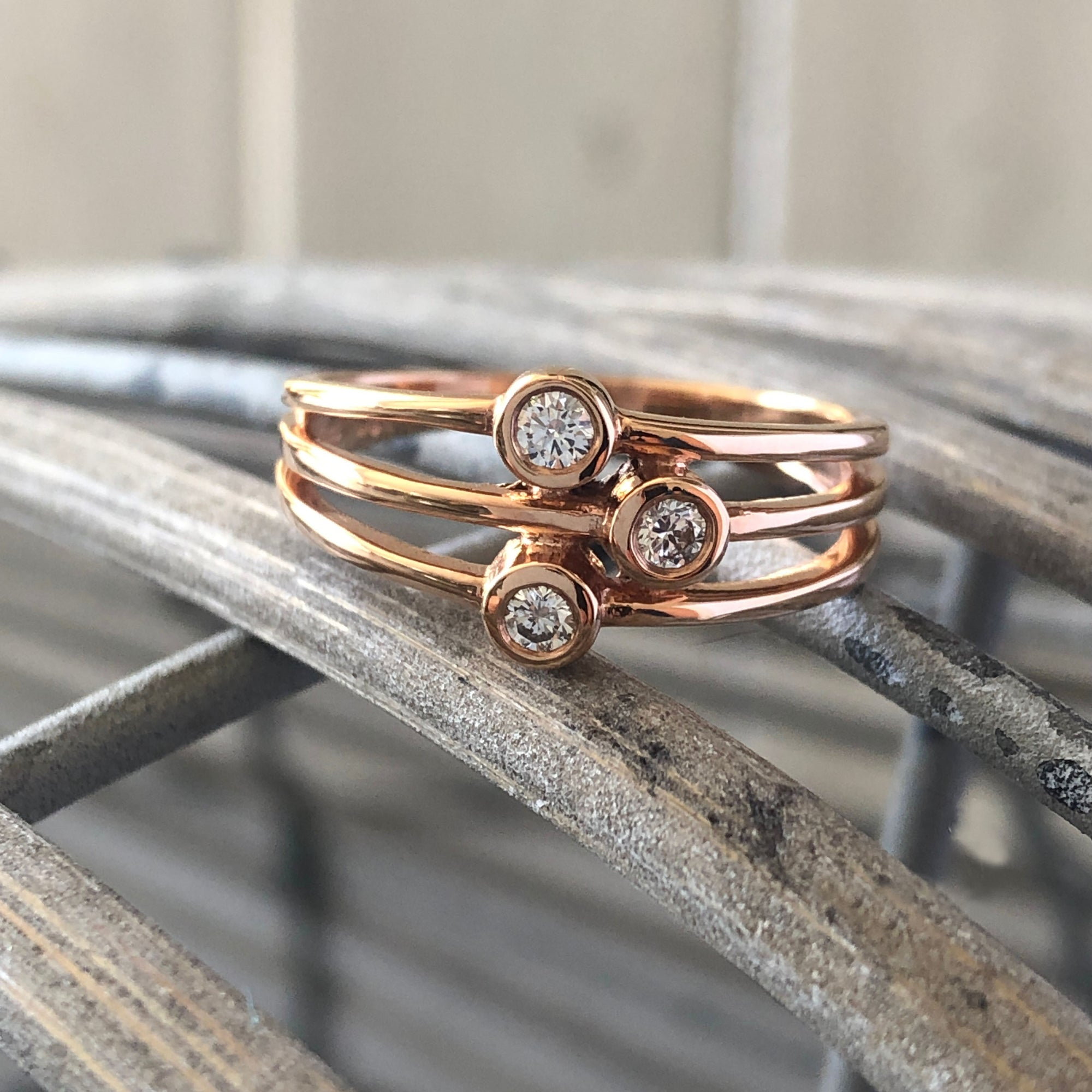Triple Diamond Split Shank Rose Gold Ring