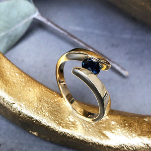 Twisted Shoulder Yellow Gold Sapphire Ring