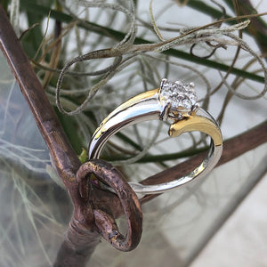 Two Tone Gold Cluster Diamond Ring in Yellow Gold Embrace