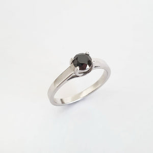 Unique Trellis Set Black Diamond Solitaire Ring