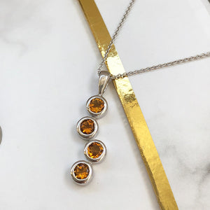 Waterfall Citrine White Gold Pendant