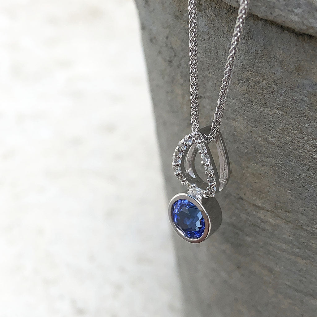 White Gold Diamond Pave droplet and Tanzanite Pendant