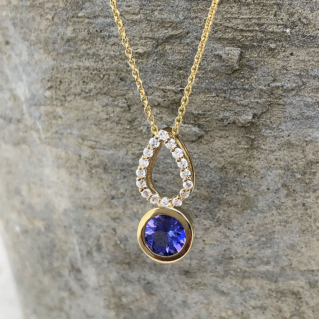 Yellow Gold Diamond Pave droplet and Tanzanite Pendant