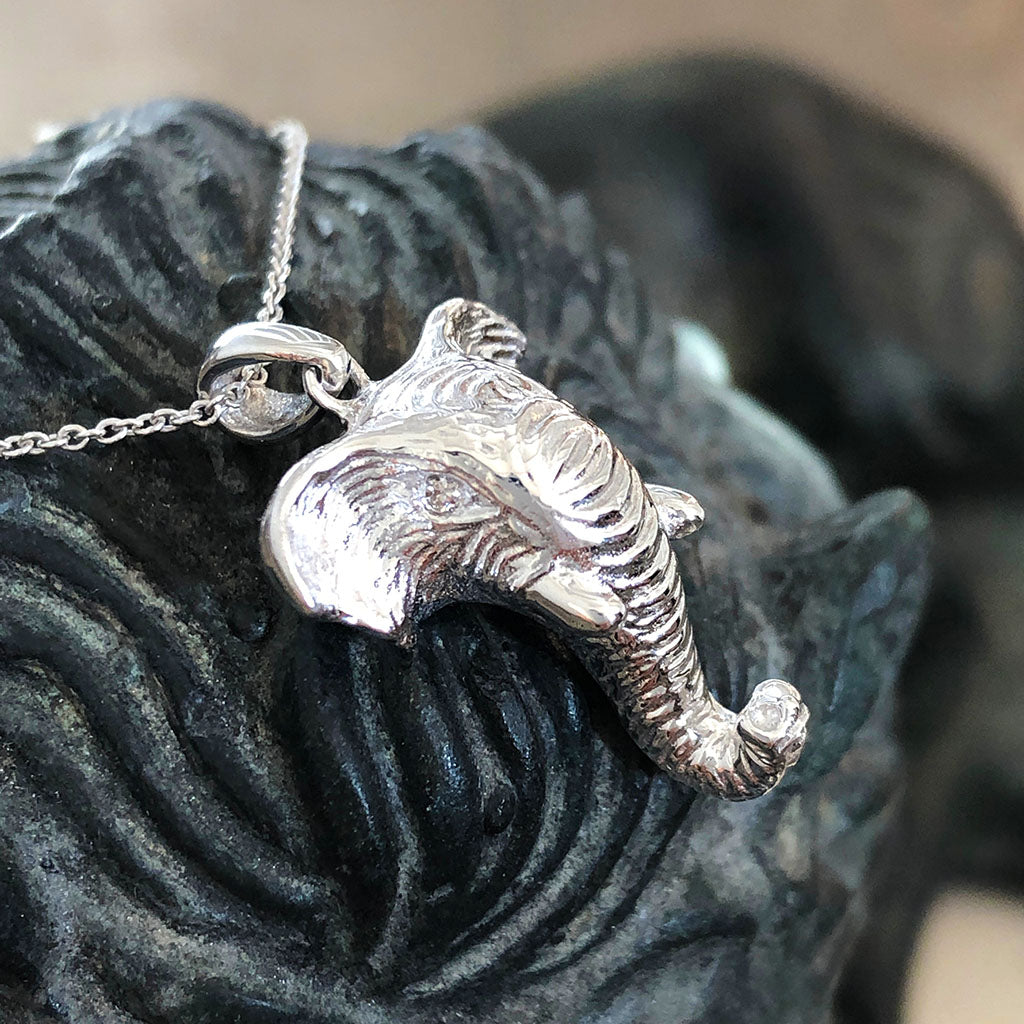 18ct White Gold Elephant Relief Pendant
