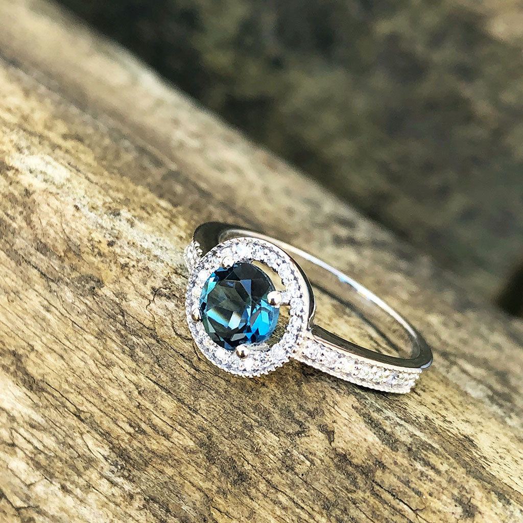 White Gold London Blue and Diamond Halo Ring