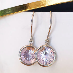 White Gold Round Cut Pink Amethyst Drop Earrings