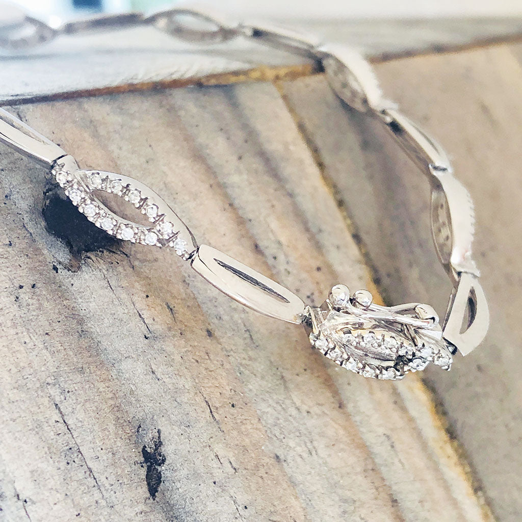 White Gold and Diamond Twist Bracelet