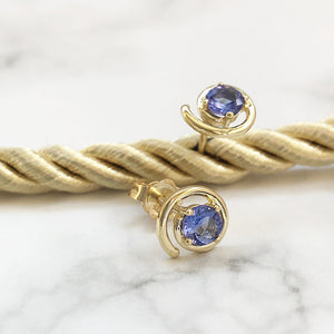 Yellow Gold Circular Tanzanite Studs