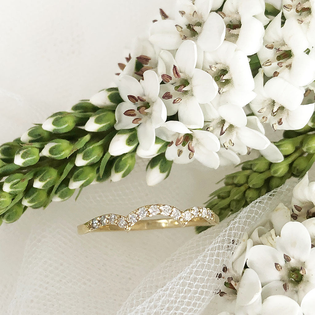 Yellow Gold Diamond Flower Cluster Engagement Ring With Diamond Accented Wedding Band Set