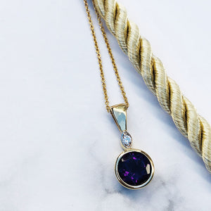 Yellow Gold Round Cut Amethyst with Diamond Accent Pendant