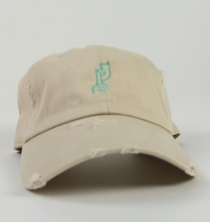Distressed Bone & Mint Logo Dad Hat