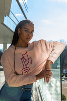 Signature Luxe Cropped Crew in Powder Pink