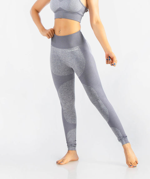 Eclipse Seamless Leggings - Light Gray - FLEXCHAMPS INDIA