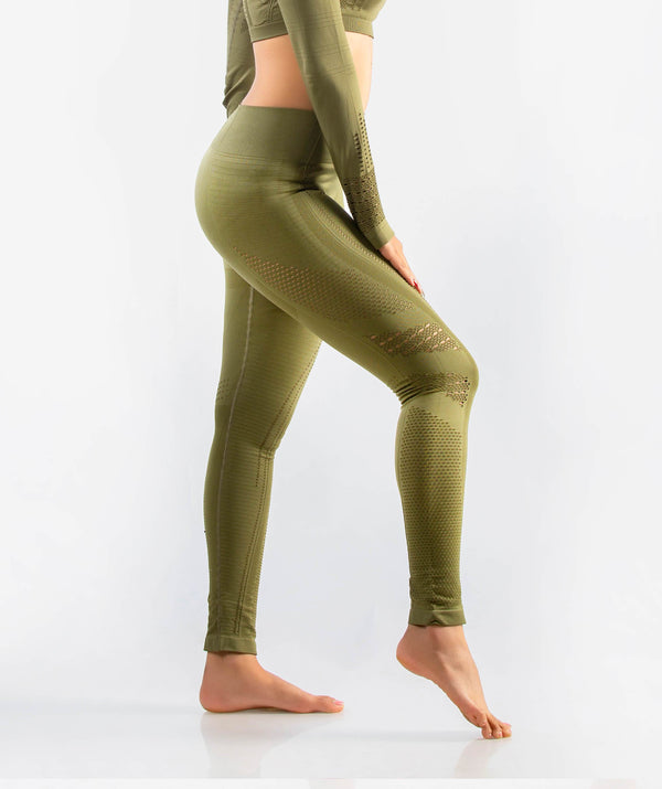 Arise Seamless Comfort Leggings - Amy Green - FLEXCHAMPS INDIA