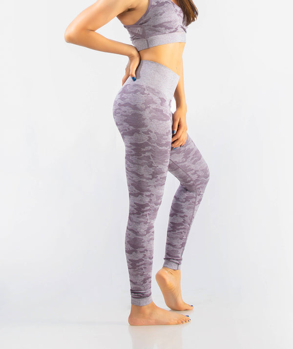 Camo Seamless Leggings - Purple - FLEXCHAMPS INDIA