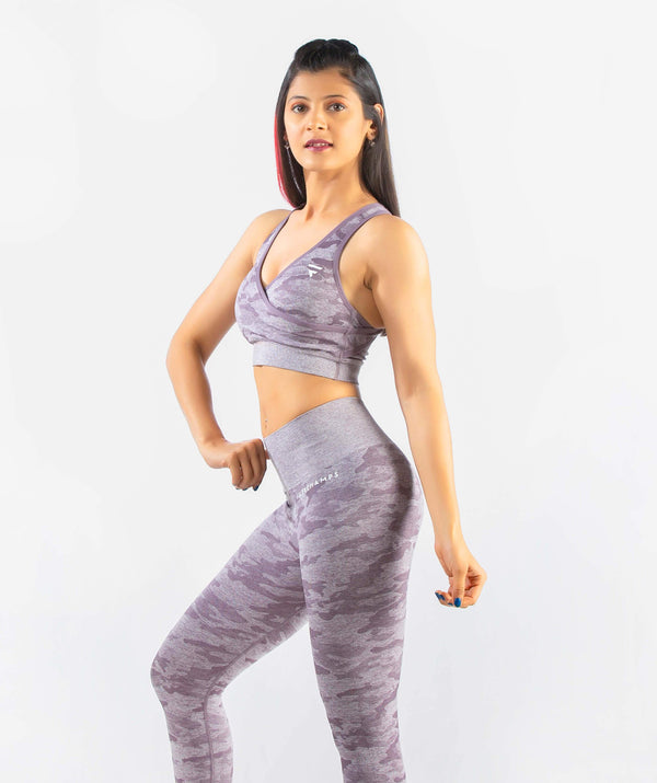 Camo Seamless Sports Bra - Purple - FLEXCHAMPS INDIA