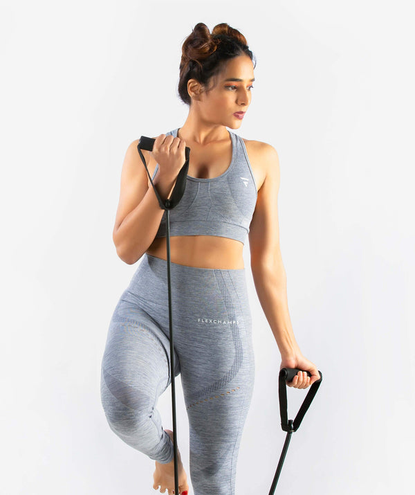 Curvus Seamless Sports Bra - Light Gray - FLEXCHAMPS INDIA