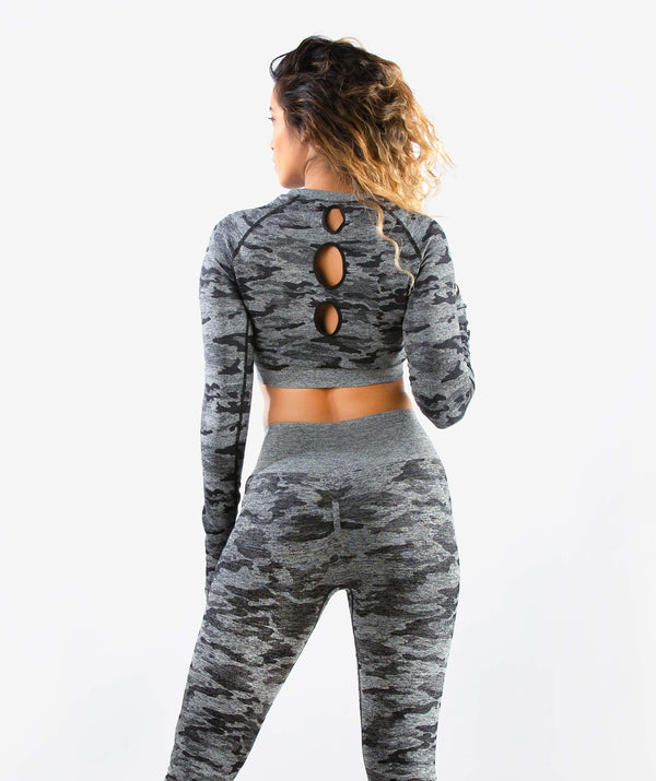 Camo Seamless Long Sleeve Crop Top - Black - FLEXCHAMPS INDIA