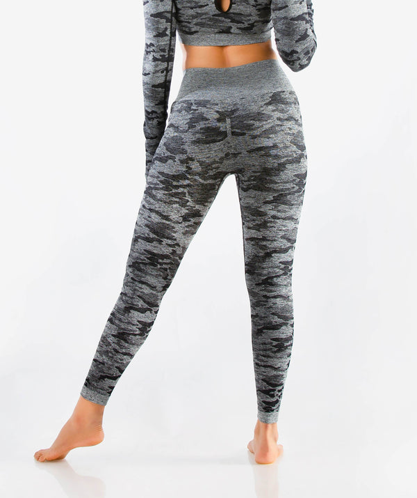 Camo Seamless Leggings - Black - FLEXCHAMPS INDIA