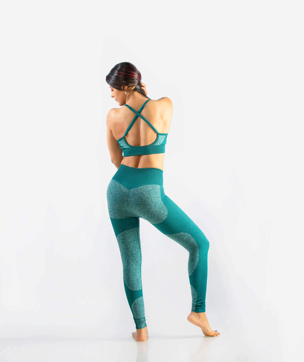 Eclipse Seamless Leggings - Green - FLEXCHAMPS INDIA