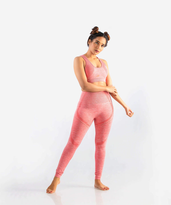 Curvus Seamless Leggings - Pink - FLEXCHAMPS INDIA