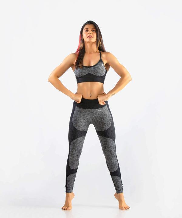 Eclipse Seamless Leggings - Black - FLEXCHAMPS INDIA