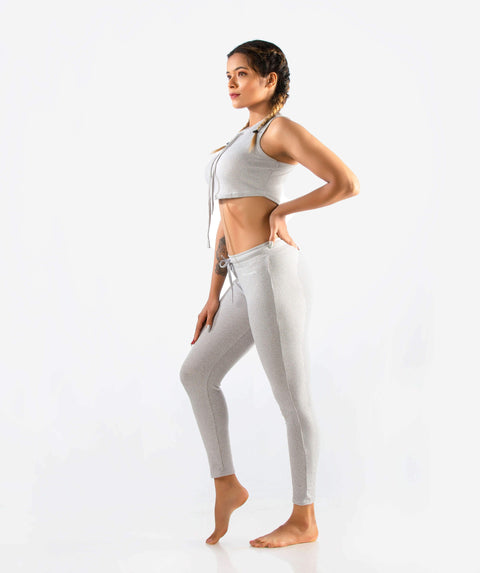 Slounge Crop Top - Light Gray Marl - FLEXCHAMPS INDIA