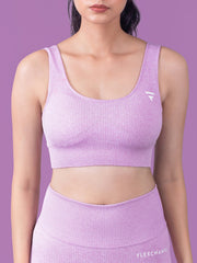 RIBBED SEAMLESS BRA - Purple - FLEXCHAMPS INDIA
