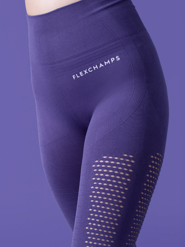 Motus Seamless Leggings - Iris Purple - FLEXCHAMPS INDIA