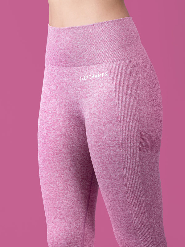 Aura Scrunch Seamless Leggings - Pink - FLEXCHAMPS INDIA