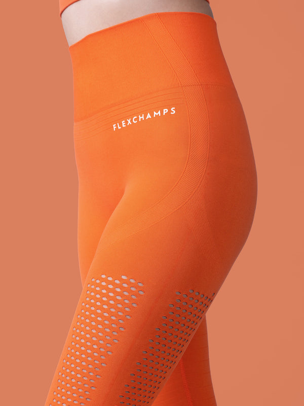 Motus Seamless Leggings - Orange - FLEXCHAMPS INDIA