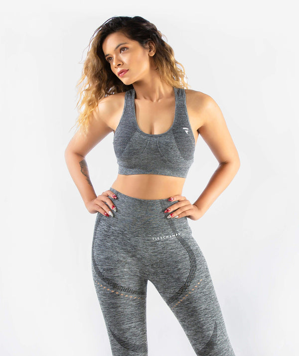 Curvus Seamless Sports Bra - Dark Gray - FLEXCHAMPS INDIA