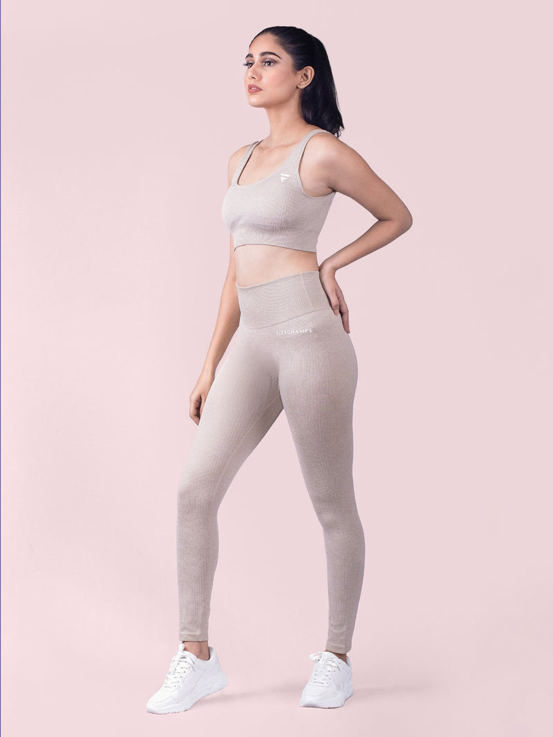 RIBBED SEAMLESS Leggings - Beige - FLEXCHAMPS INDIA