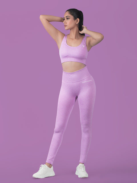 RIBBED SEAMLESS Leggings - Purple - FLEXCHAMPS INDIA