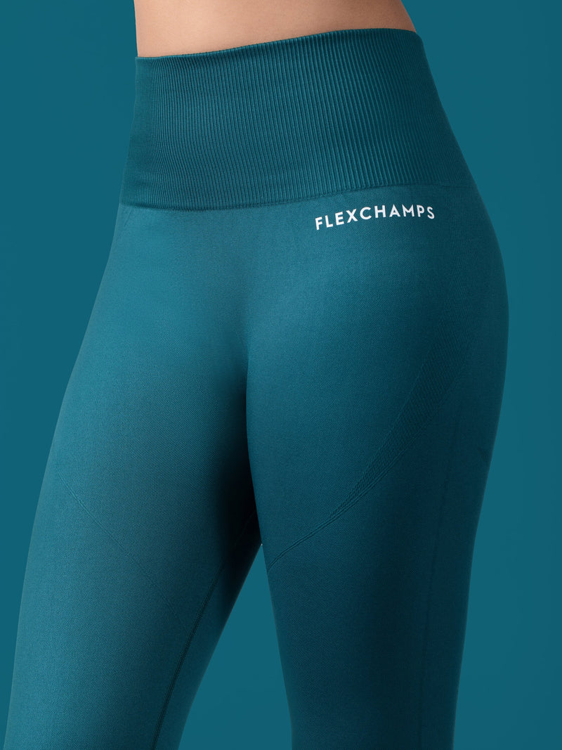 Revival Seamless Leggings - Forest Green - FLEXCHAMPS INDIA