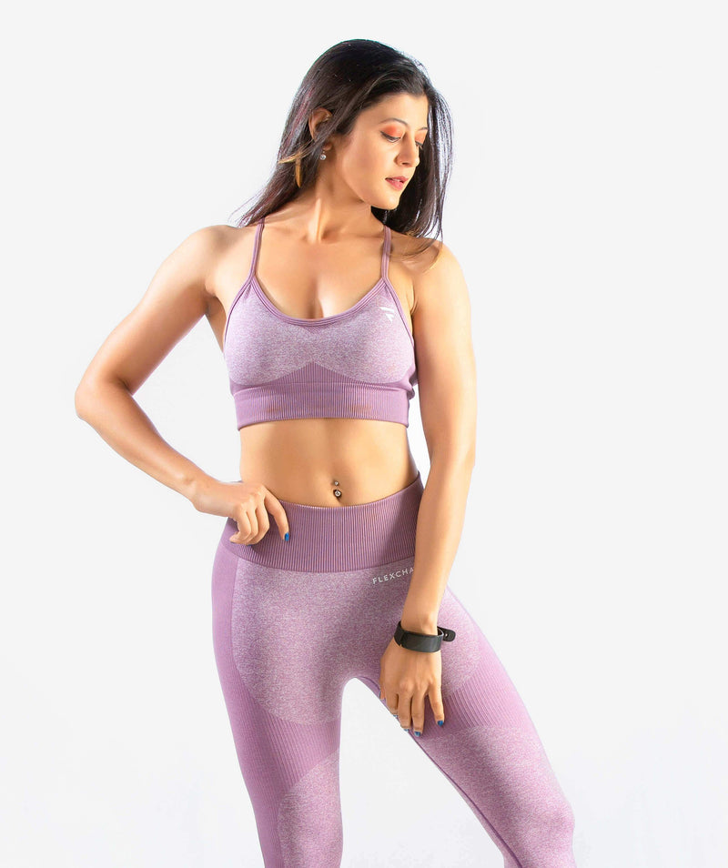 Eclipse Seamless Sports Bra - Purple - FLEXCHAMPS INDIA