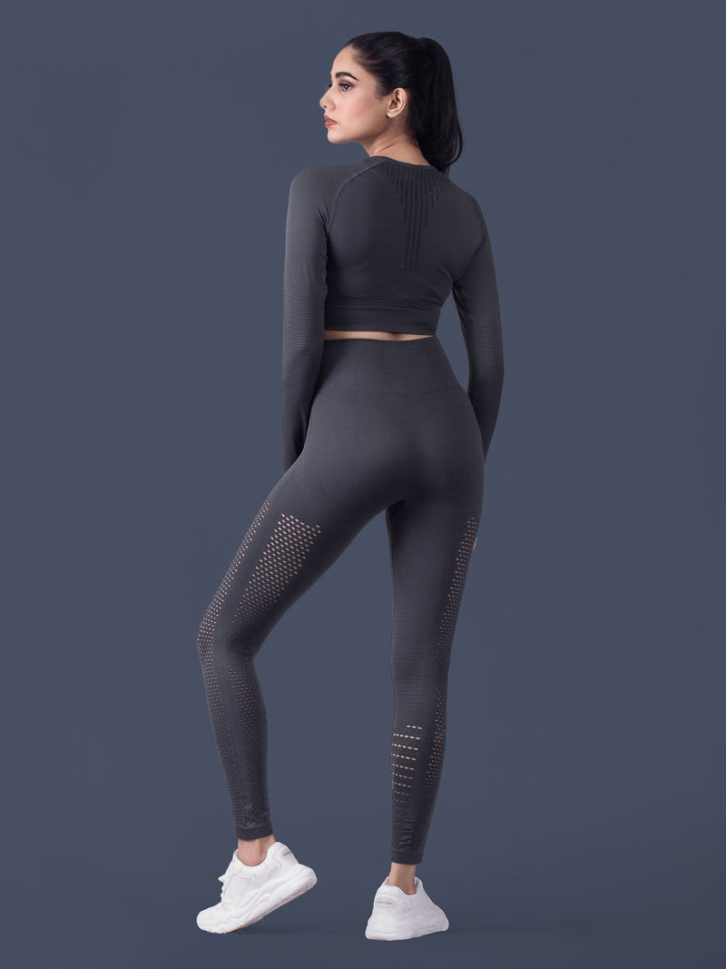 Motus Seamless Long Sleeve Crop Top - Charcoal - FLEXCHAMPS INDIA