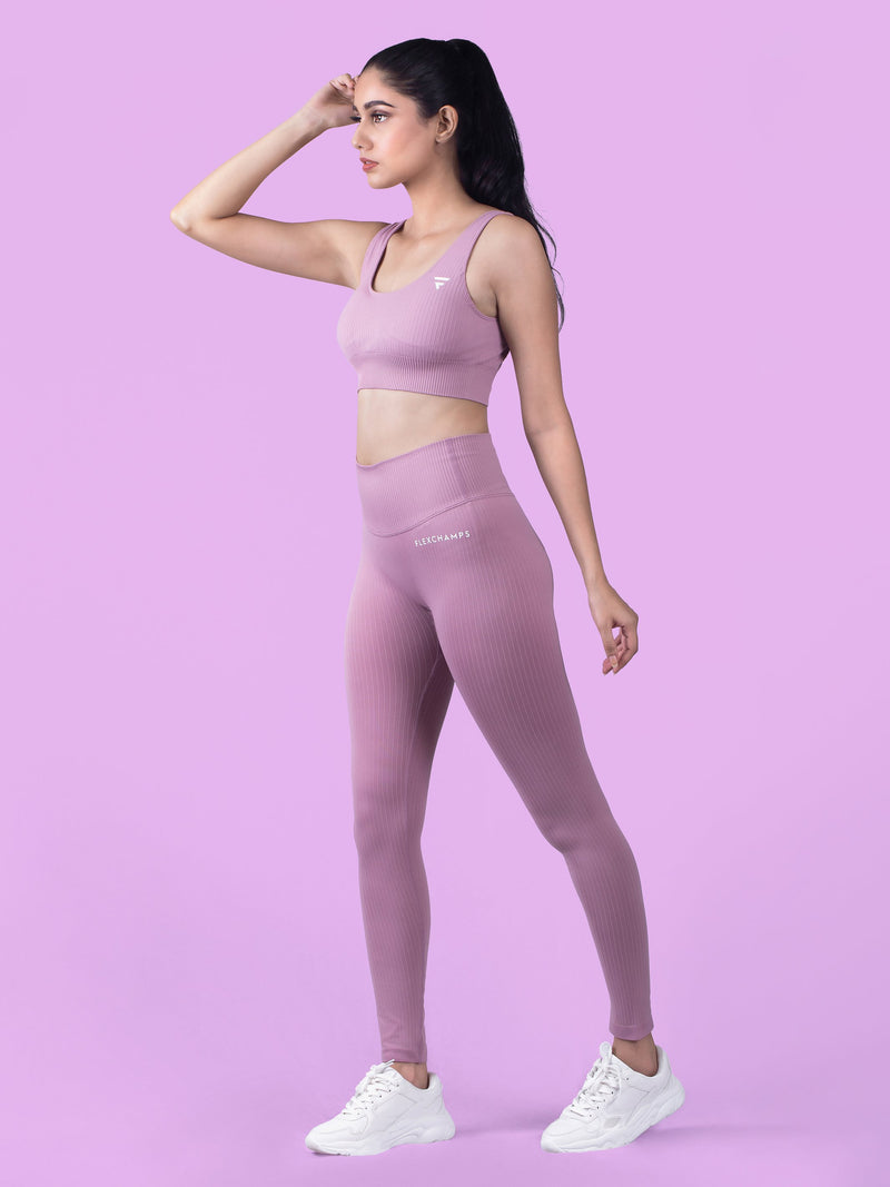 RIBBED SEAMLESS BRA - Soft Pink - FLEXCHAMPS INDIA