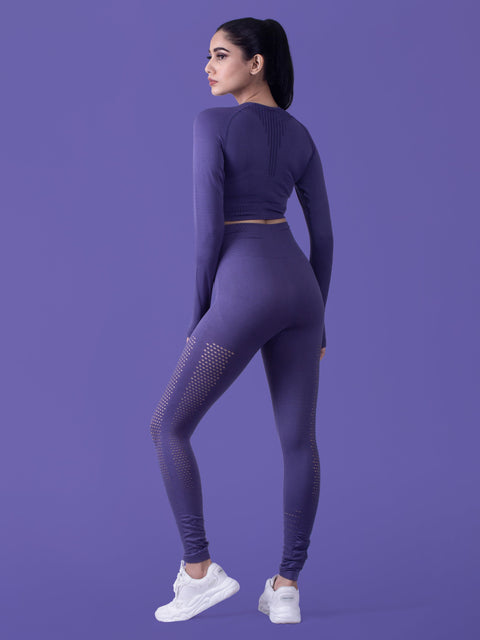 Motus Seamless Long Sleeve Crop Top - Iris Purple - FLEXCHAMPS INDIA