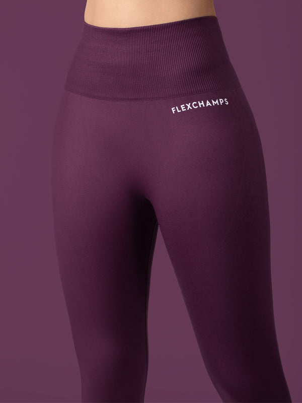 Revival Seamless Leggings - Maroon - FLEXCHAMPS INDIA