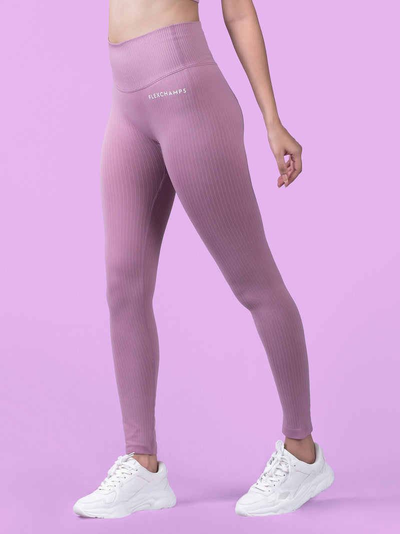 RIBBED SEAMLESS Leggings - Soft Pink - FLEXCHAMPS INDIA