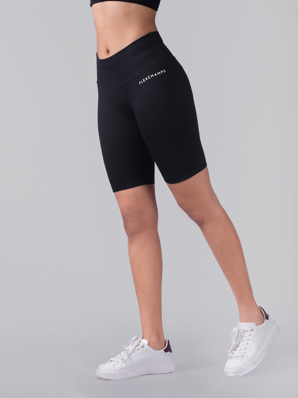 Closed Ribbed Bicycle Shorts - Black - FLEXCHAMPS INDIA