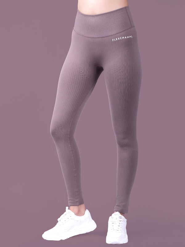 RIBBED SEAMLESS Leggings - Espresso - FLEXCHAMPS INDIA
