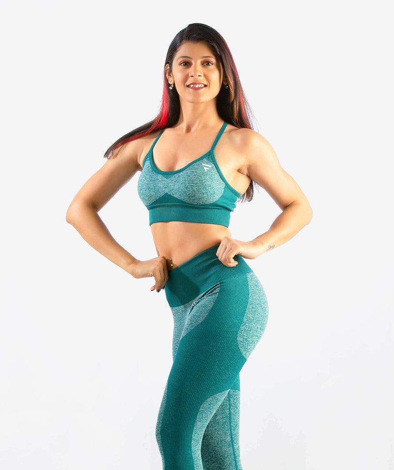 Eclipse Seamless Sports Bra - Green - FLEXCHAMPS INDIA