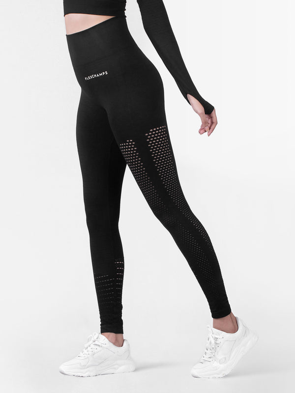 Motus Seamless Leggings - Black - FLEXCHAMPS INDIA