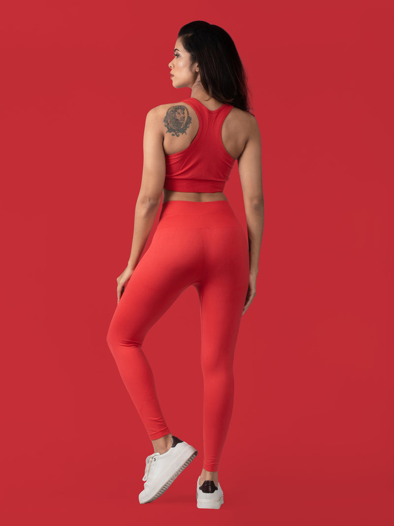 Revival Seamless Sports Bra - Scarlet Red - FLEXCHAMPS INDIA