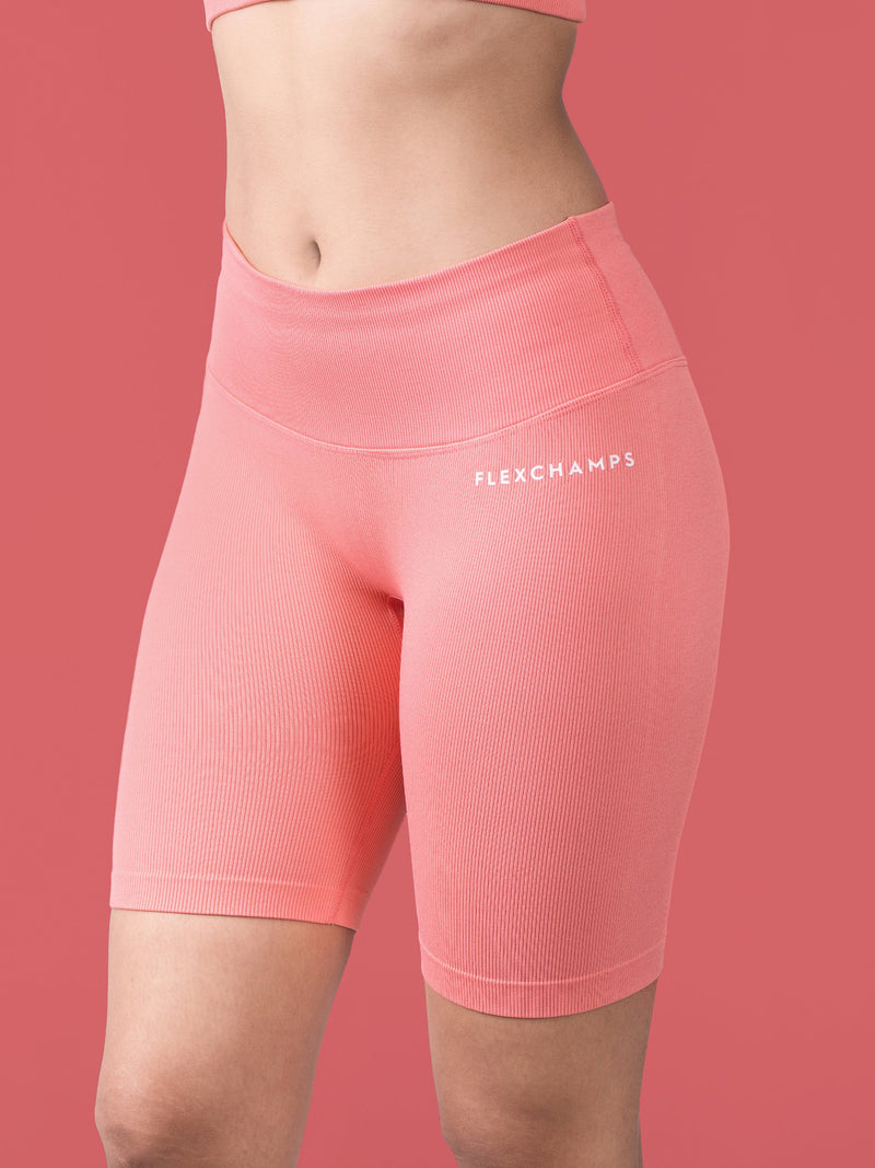 Closed Ribbed Bicycle Shorts - Coral - FLEXCHAMPS INDIA