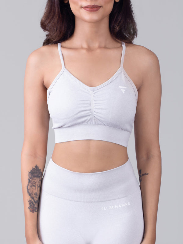 Aura Seamless Sports Bra - Snow White - FLEXCHAMPS INDIA