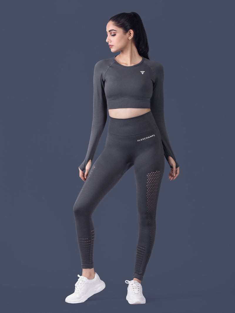 Motus Seamless Leggings - Charcoal - FLEXCHAMPS INDIA